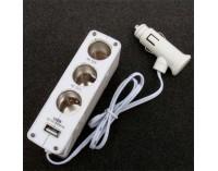 Бял разклонител за запалка + USB - 12V